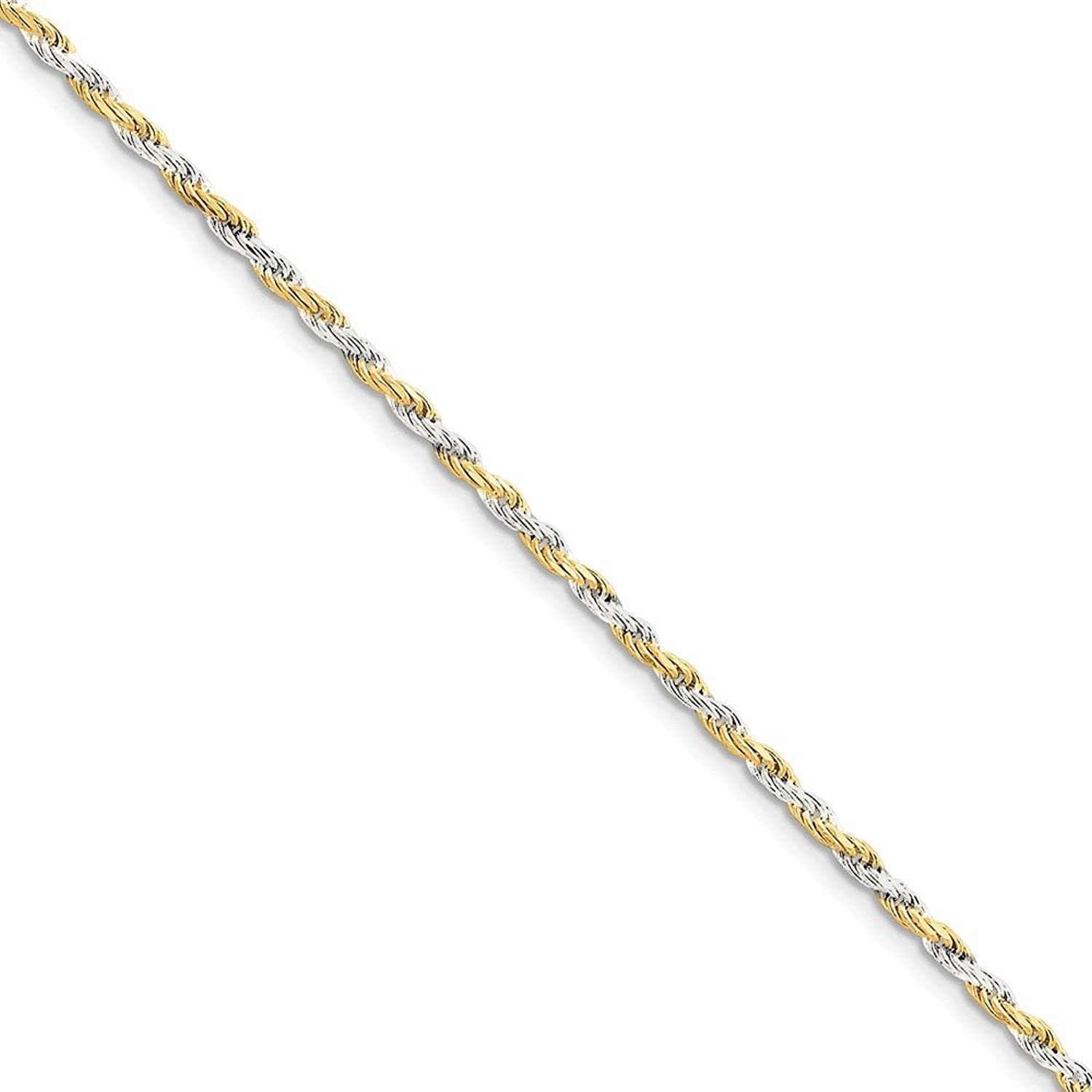 Beautiful Sterling silver 925 sterling Sterling Silver & Vermeil 2.5mm Diamondcut Rope Chain
