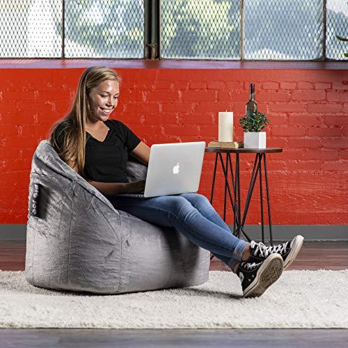 Big Joe, 0 Milano Gray Plush Bean Bag Chair, Gray