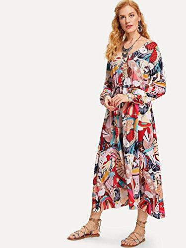 Milumia Women's Button up Split Floral Print Flowy Party Maxi Dress Medium Multicolor
