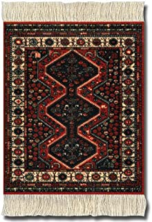 Lextra (Freud) CoasterRug rust and cream 5.5 x 3.5 set of four