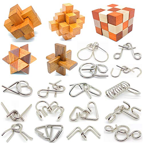 Guaishou Brain Teasers with The Puzzles 21Pcs Unlock Interlock Game IQ Test Toy 3D Wooden and Metal...
