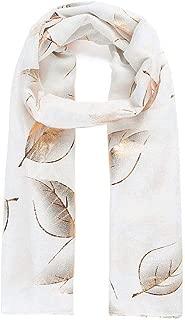 White gold metallic foil leaf printed scarf