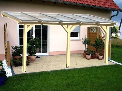 Luxbach GmbH Terrassenüberdachung 500x450 cm / 5x4,5 m Terrassendach Überdachung Carport Leimholz Pergola BSH Holz Stegplatten 16mm Klar Hohlkammerplatten