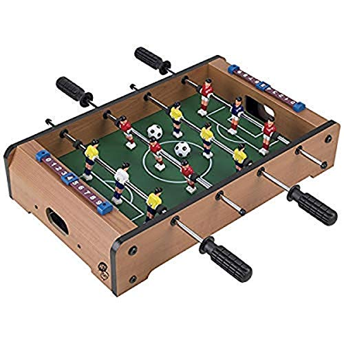 Hey! Play! Tabletop Foosball Table- Portable Mini Table Football / Soccer Game Set with Two Balls and Score Keeper for Adults and Kids