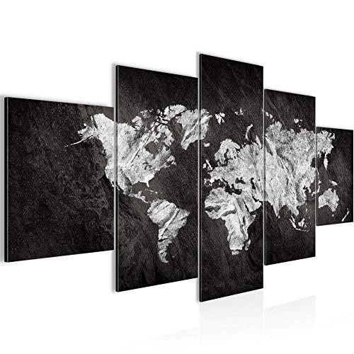 Quadro Mappa del mondo 200 x 100 cm - XXL Immagini Murale Stampa su Tela Decorazione da Parete Pronte per l'applicazione 5 pezzi - 002951a