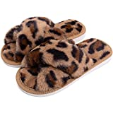 Girls Fuzzy Slippers Kids Fluffy Fur Slide Sandals Rainbow Leopard Cross Band Open Toe Slip On Soft Plush House Home Flip Flop Slippers Indoor Outdoor