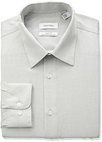 Calvin Klein Men's Non Iron Regular Fit Horizontal Stripe Dress Shirt, Smoky Grey, 17.5' Neck 36'-37' Sleeve (X-Large)