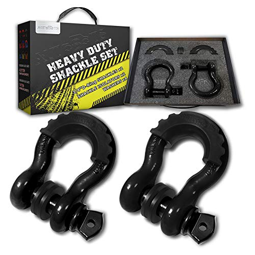 Find Bargain AUTOBOTS Bow Shackle 3/4 D-Ring Black Shackle (2 Pack), 41,887Ib Break Strength with 7...