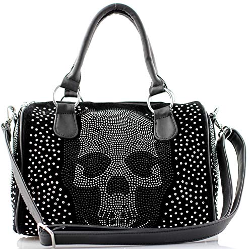 Damen Handtasche Totenkopf Skull Bone Bowling Bag Gothic Punk Damentasche Stars Stripes Amerika Punk Rock Pop Strassoptik Bowling Bag