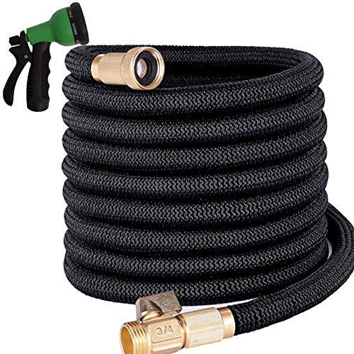 "Triple Hose Garden Hose | Strongest Expandable Hose Triple Layer Latex Core | ¾"" Solid Brass Shut Off Valve | Heavy Duty Nylon Outer Cover | Flexible Expanding Hose | Storage | Gift Bag (50, Black)"