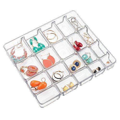 "iDesign Linus BPA-Free Plastic Divided Jewelry Organizer Tray - 8.75"" x 7.75"" x 1.25"", Clear"