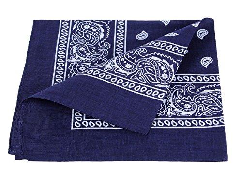 Alsino Bandana Zandana Kopftuch Halstuch Paisley Muster 100% Baumwolle (dunkel blau 60)