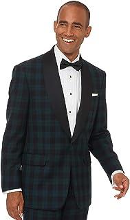 Paul Fredrick Men's Super 100s Wool Tartan Tuxedo Jacket