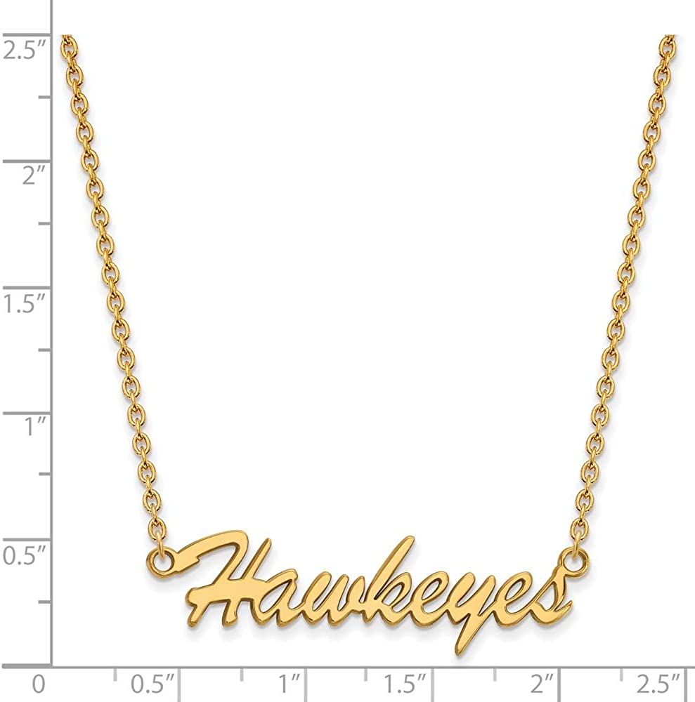 with Secure Lobster Lock Clasp 925 Sterling Silver Yellow Gold-Plated Official University of Iowa Medium Pendant Necklace Charm Chain Width = 39mm