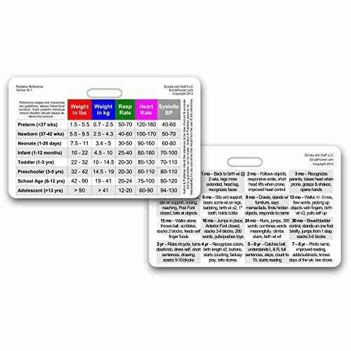 Pediatric Vital Signs & Developmental Milestones Horizontal Badge ID Card Pocket Reference Guide