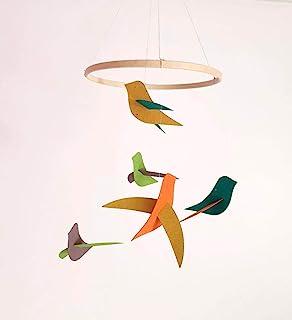 """El móvil""""Las aves"""" en papel reciclado Azul y su círculo de madera"""