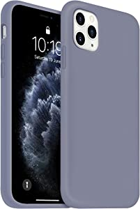 OUXUL iPhone 11 Pro Case, Liquid Silicone Phone Case Compatible with iPhone 11 Pro 5.8 inch, Full Body Slim Soft Microfiber Lining Protective Case (Lavender Gray)