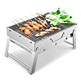 Sunkorto Folded Charcoal BBQ Grill Set, Stainless Steel Portable Folding Charcoal <span class='highlight'>Barbecue</span> Grill, <span class='highlight'>Barbecue</span> <span class='highlight'>Tool</span> Kits for Outdoor Picnic Patio Backyard Camping Cooking 39x27x20cm