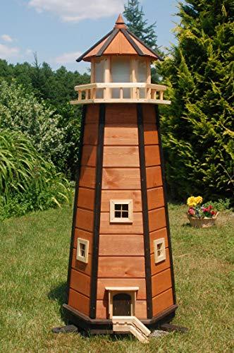 Wunderschöner großer XXL Leuchtturm aus Holz mit LED Solar Beleuchtung 1,40 m, braun