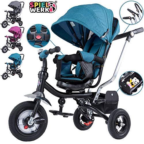 Spielwerk Dreirad Kinderdreirad 4 in 1 Funktion 360° drehbarer Sitz Petrol Sonnendach Kinderwagen Fahrrad Kind