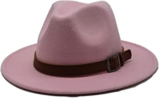Hats Winter Jazz Fascinator Hat Size 56-58CM Men Women Wool Fedora Hat with Leather Belt Autumn Casual Church Hat Fashion (Color : Pink, Size : 56-58)