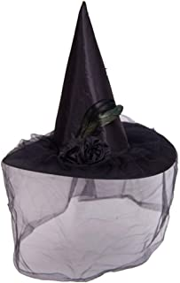 YJEOZ Halloween Witch Hat Soft Lace Mesh Eye Rose Flower Witch Hat Halloween Costume Accessories mask (Color : Black)