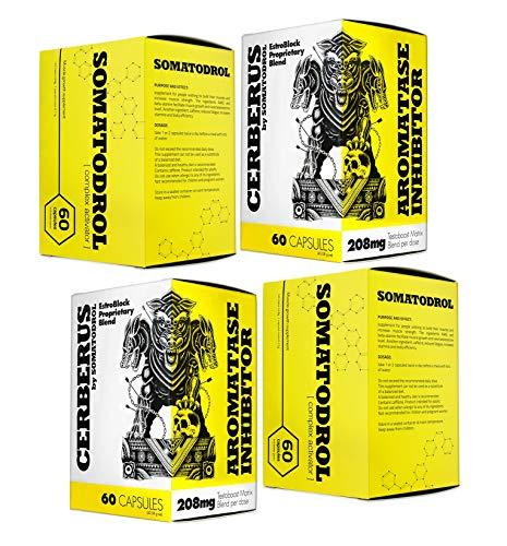 SOMATODROL + CERBERUS | Booster di Testosterone | Crescita Della Massa Muscolare Magra | Bruciagrassi | Integratori Alimentari Per Uomo | Inibitore Dell\'aromatasi | (2 x SOMATODROL + 2 x CERBERUS)