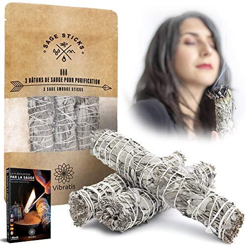 Vibratis - Sauge Blanche De Purification 16cm - 3 Bâtons d'Encens de Sauge À Brûler + E-Book - Élimine Les Énergies Négatives - Favorise La Méditation []