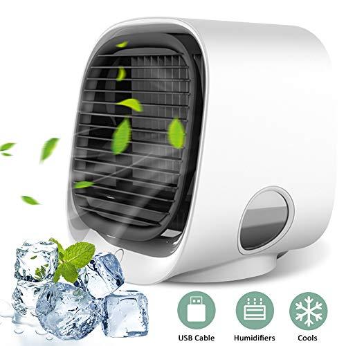 Mobile Klimageräte, YOMERA Mini Persönliche Klimaanlage 3 in 1 Luftkühler USB Lufterfrischer mit 3 Geschwindigkeiten 7 Farben LED Air Cooler für Zuhause Schlafzimmer Büro Auto Camping (Weiß)