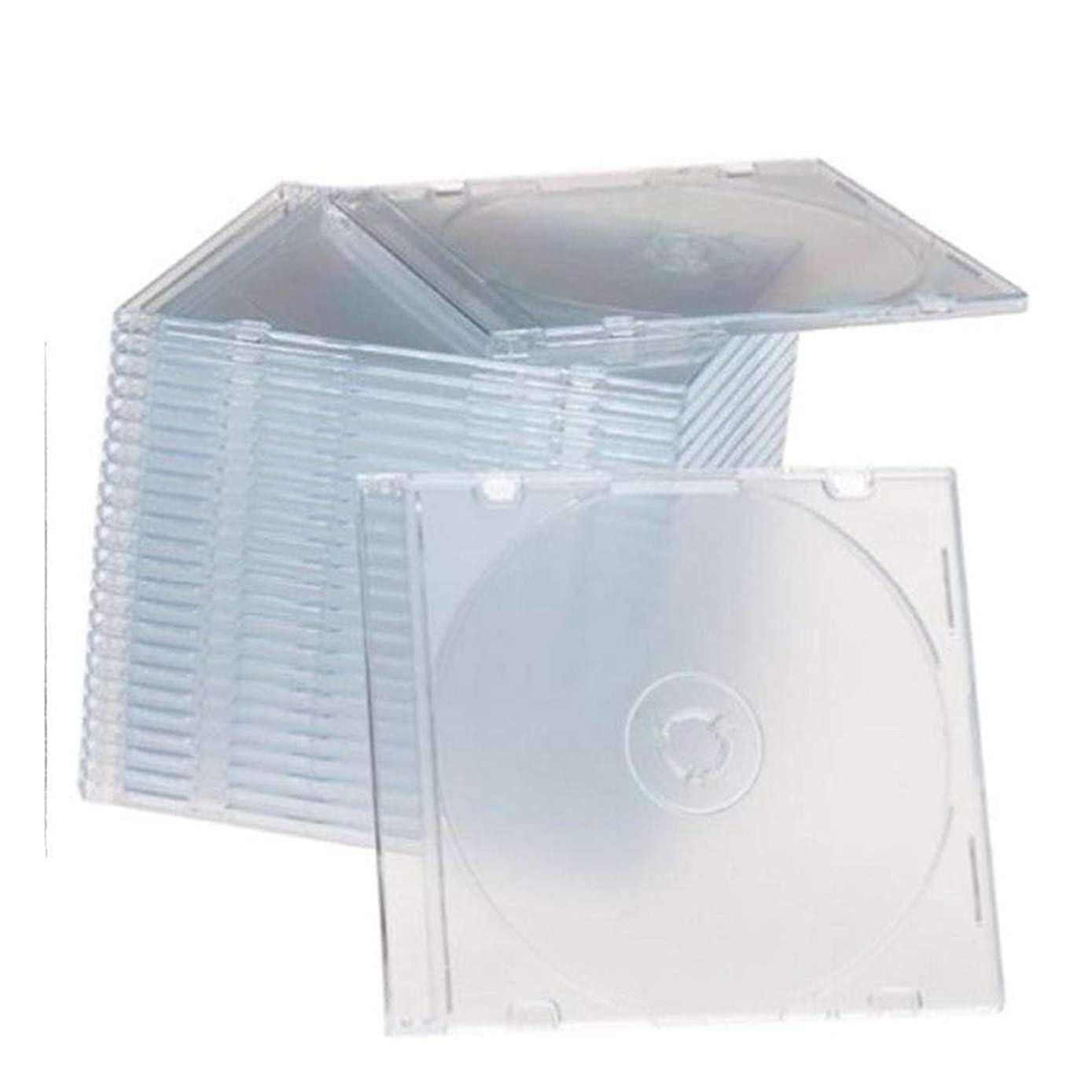 Maxtek Ultra Thin 5.2mm Slim Clear CD Jewel Case with Built in Frost Clear Tray, 100 Pack.