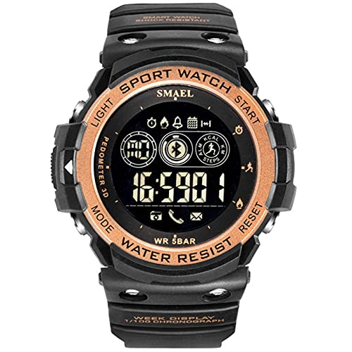 SMAEL Reloj Digital para Hombre - Relojes Deportivo A Prueba De Agua para Hombre 50M, Reloj Militar Negro De Gran Cara LED con Alarma/Temporizador De Cuenta Regresiva/Cronómetro,Black Gold