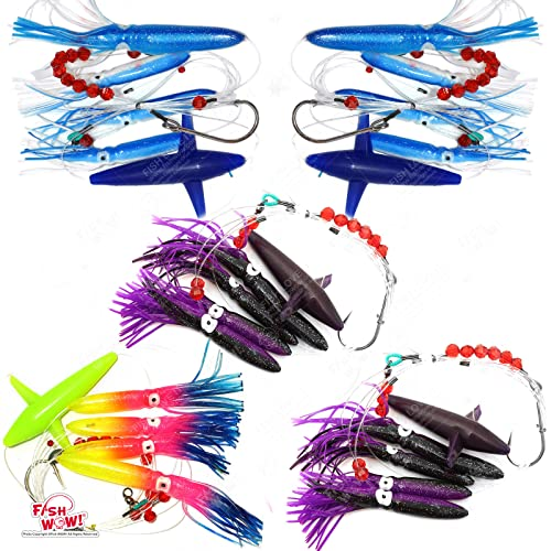 Fish Wow! Fishing Daisy Bird Chain Squid Lure Rig Teaser Trolling - Set of 5