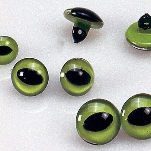 efco–Gato de Ojos, plástico, Verde/Black-p, plástico, Verde, Negro, 12 mm, 2-Piece