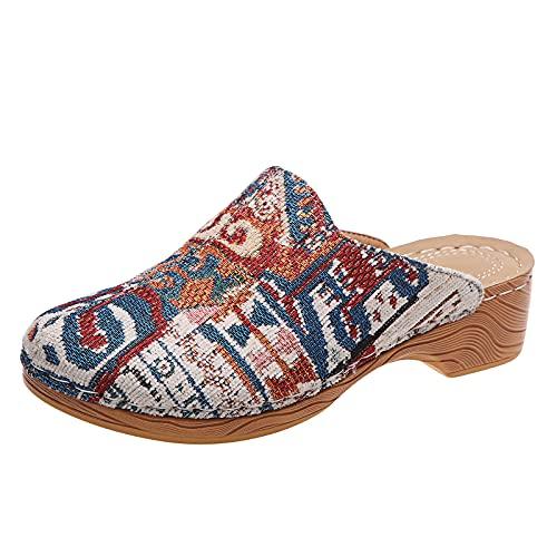 Zuecos Mujer Verano Mules con tacón Cuadrado Retro Estampado Moda Zapatos Mujer Casual cómodos Madera Sandalias Mujer con Punta Cerrada Zapatillas Mujer Slippers Women Sandalias de Pala 2021