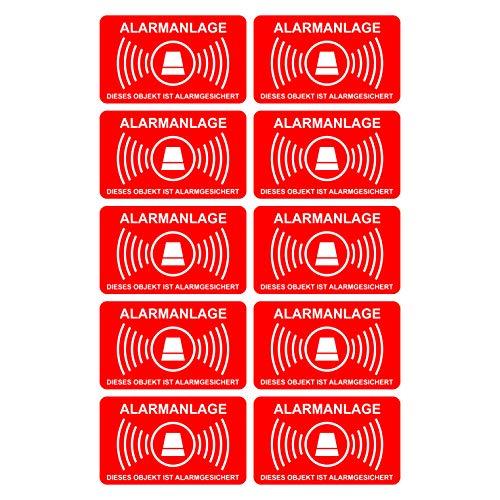 10 Stück Aufkleber Alarmanlage 5 cm x 3 cm | alarmgesichert | wetterfest & UV Schutz | Set
