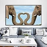 KWzEQ Animal Moderno póster Lienzo de Arte Sala de Estar Tronco de Elefante Hacer decoración de corazón,Pintura sin Marco,30x52cm
