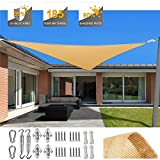 SUNDUXY Toldo Vela de Sombra Triangular, protección Rayos UV Impermeable para Patio, Exteriores, Jardín, Color Arena (Kit de Montaje para Toldo),3.5x3.5x3.5m