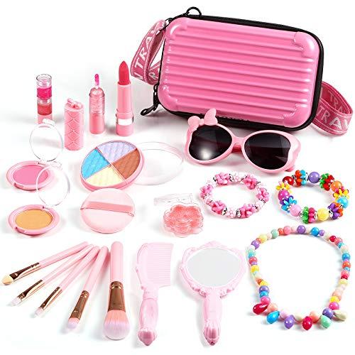 ARANEE Kinderschminke Set Mädchen, 20 PCS Real Kids Kosmetik Makeup Set mit kosmetischen Reiseetui...