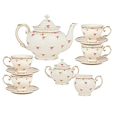 Gracie China by Coastline Imports 11-Piece Porcelain Petite Fleur Porcelain Tea Set, Pink