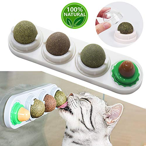 Malier Catnip Toy for Cats Catnip Edible Balls Natural Rotatable Licking Treats Toys for Cats Kitten Kitty