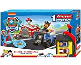 Carrera 20063031 FIRST PAW PATROL Track Patrol 2,4m Rennstrecken-Set | 2 ferngesteuerte Fahrzeuge mit Chase und Marshall | mit Handregler & Streckenteilen | Spielzeug für Kinder ab 3 Jahren -