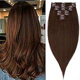 [page_title]-Haarteile Echthaar Clip in Extensions Echthaar Weich Lang Haarverlängerung 8Pcs 18 Clips 100% Human Hair 60cm-120g 04# Mittelbraun