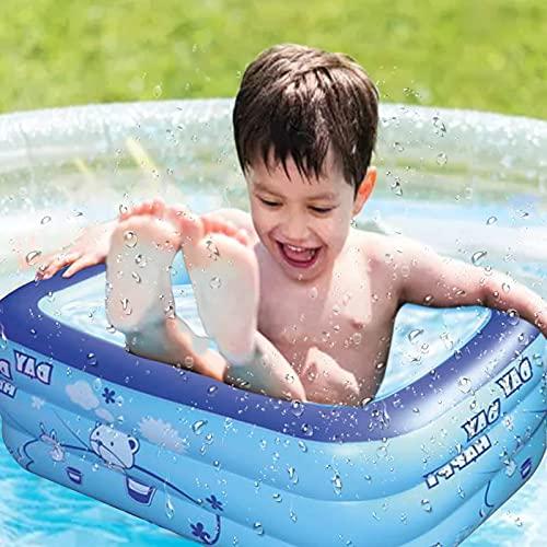 DOTTAVR Summer Inflatable Swimming Pool hinchable Niños Juegos Piscina Cuadrada Verano Bebé Al aire libre Dibujos Animados Familiar Juegos Agua Piscina Portátil
