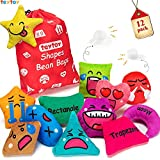 teytoy Shapes Toss Cotton Bean Bags Toy Learn Shapes and Expressions, Squeaky and Rattle Preschool Educational and Learning Activities Geometric Sensory Toys for Kids Toddlers Toss Game (12 Pack)
