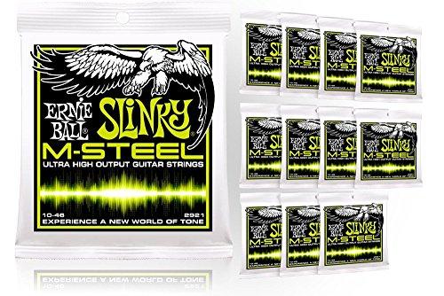 Price comparison product image Ernie Ball 2921 M-Steel Regular Slinky Electric Guitar Strings - Buy 10,  Get 2 FREE