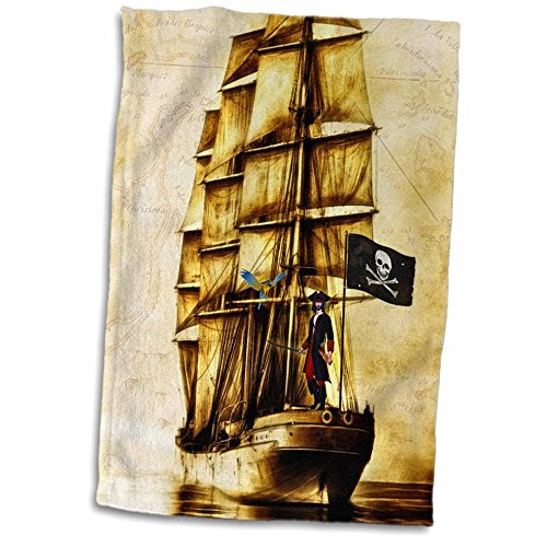 3D Rose Vintage Pirate Ship with Parrot and Old World Map Hand Towel, 15u0022 x 22u0022
