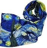 Goods4good Pañuelo de seda reversible con diseño de la famosa pintura en oleo de Vicent Van Gogh La noche estrellada. Dimensiones 170x63cm.
