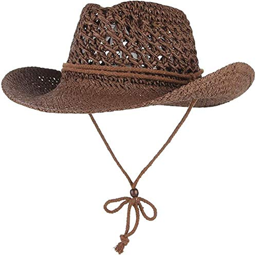 giyiohok Sombrero de paja de vaquero de ala ancha hueca hacia fuera estilo occidental sombreros de paja playa sombrero vaquero