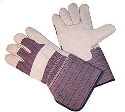 G & F 5025 Extra Long Cuff (4 1/2 Inch) Leather Palm Work Gloves, Gloves for Driving and Construction, Large
