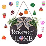 Interchangeable Seasonal Welcome Home Sign for Front Door - Rustic Farmhouse Hanging Wood Wreath Decor with 16 Style Holiday Ornament and Burlap Bow for Housewarming Gift, 11.8 Inch Round (Brown)